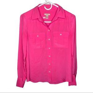 J. Crew Women's Pink Silk Button Down Pouch Blouse